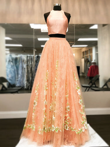 Two Piece Prom Dresses High Neck Aline Floral Lace Orange Long Chic Prom Dress JKL1340|Annapromdress