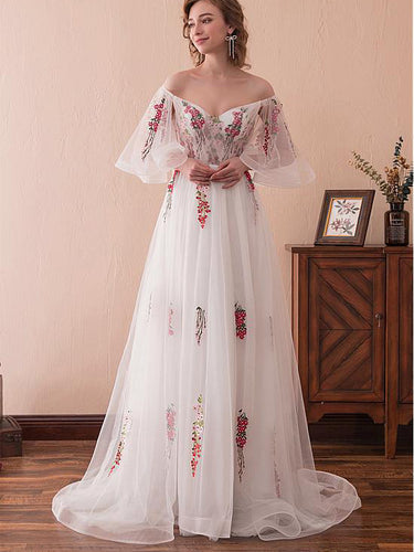 Fairy Prom Dresses A-line Off-the-shoulder Short Train Half Sleeve Long Prom Dress JKL1346|Annapromdress