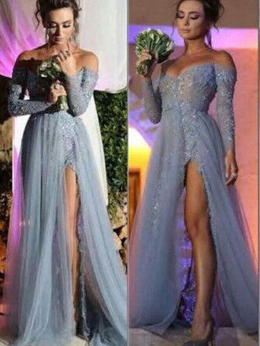 Long Sleeve Prom Dresses with Slit A-line Long Prom Dress Lace Evening Dress JKL1349|Annapromdress