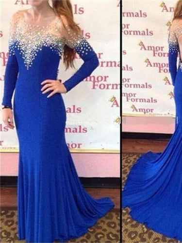 Royal Blue Prom Dress Backless Long Sleeve Long Sexy Prom Dress/Evening Dress JKL134