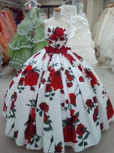 Ball Gown Prom Dresses Strapless Rose Floral Print Red and White Long Prom Dress JKL1350|Annapromdress