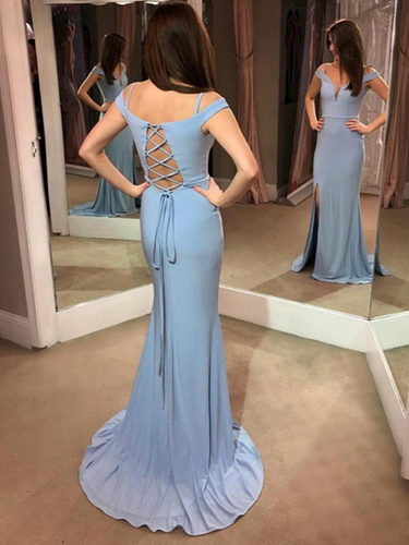 Simple Prom Dresses with Slit Sheath Column Short Train Lace-up Long Jersey Prom Dress JKL1353|Annapromdress