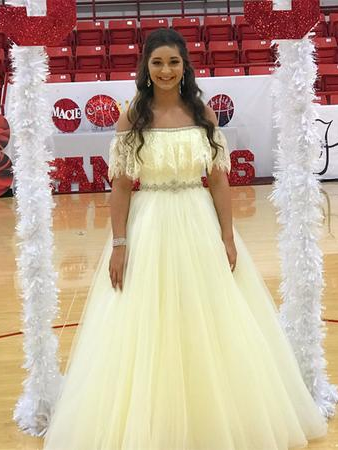 Chic Prom Dresses Aline Off-the-shoulder Lace Rhinestone Long Tulle Prom Dress JKL1354|Annapromdress