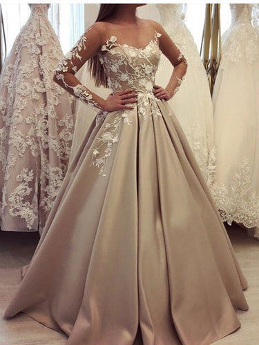 Long Sleeve Prom Dresses Off-the-shoulder A Line Long Chic Satin Prom Dress JKL1355|Annapromdress