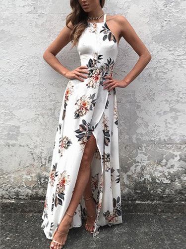 Open Back Prom Dresses Floral Print Long Slit Prom Dress Sexy Evening Dress JKL1368|Annapromdress