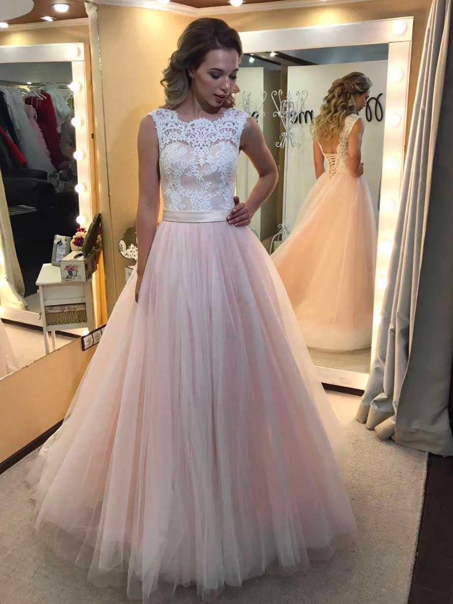 Pearl Pink Prom Dresses A Line Sweep Brush Train Tulle Dress Even Annapromdress
