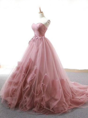 Ball Gown Prom Dresses Sweetheart Sweep Train Dusty Pink Long Fairy Prom Dress JKL1372|Annapromdress