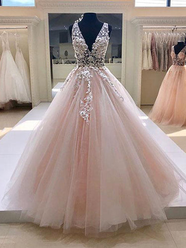 Beautiful Prom Dresses with Straps Deep V Aline Long Blush Pink Prom Dress JKL1376|Annapromdress