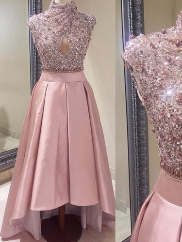 Unique Prom Dresses High Neck Asymmetrical Sequins Satin Prom Dress/Evening Dress JKL137