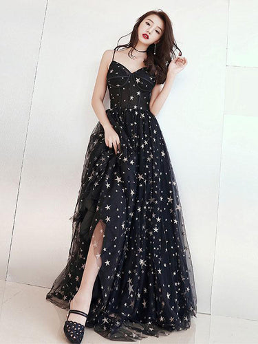 Chic Prom Dresses A-line Floor-length Star Lace Beautiful Long Black Prom Dress JKL1384|Annapromdress