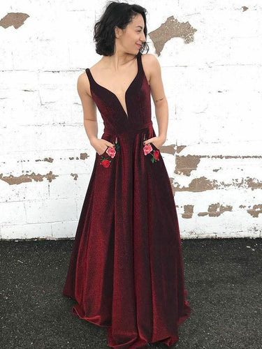 Burgundy Prom Dresses with Straps A Line Velvet Prom Dress Long Evening Dress JKL1385|Annapromdress