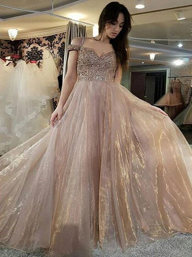 Sparkly Prom Dresses Off-the-shoulder Sweep Train Long Organza Prom Dress JKL1387|Annapromdress