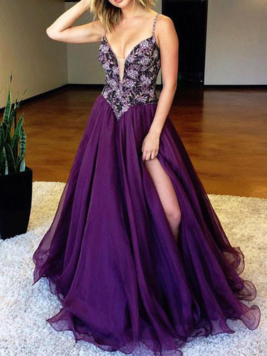 Slit Prom Dresses Spaghetti Straps A-line Beading Chic Long Sparkly Prom Dress JKL1388|Annapromdress