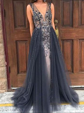Sparkly Prom Dresses with Straps Sheath Column Long Prom Dress Sexy Evening Dress JKL1389|Annapromdress