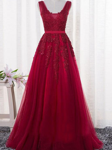 Burgundy Prom Dresses Straps Appliques Long Sexy Prom Dress/Evening Dress JKL138