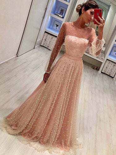 Long Sleeve Prom Dresses Aline Floor-length Beading Sparkly Long Prom Dress JKL1390|Annapromdress