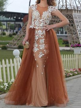 Long Prom Dresses Scoop Sheath Appliques Floor-length Sexy Chic Prom Dress JKL1397|Annapromdress