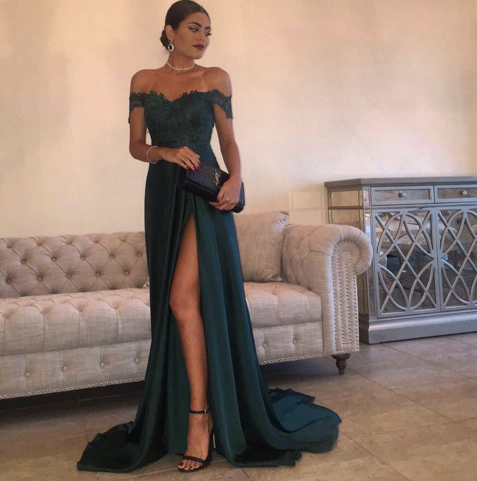 Dark Green Prom Dresses Off-The-Shoulder Slit Sexy Prom -1384