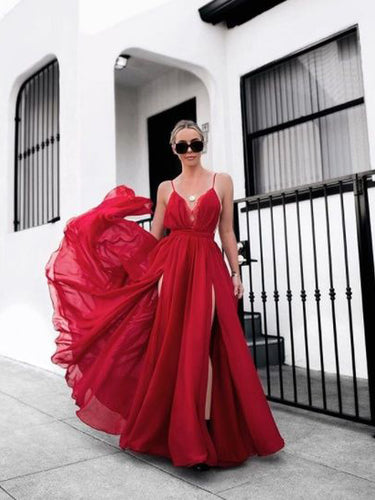 Lace Prom Dresses with Slit A Line Ankle-length Long Red Simple Prom Dress JKL1400|Annapromdress