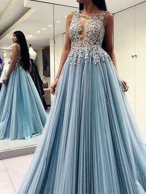 Beautiful Prom Dresses Scoop A-line Appliques Chic Long Open Back Prom Dress JKL1401|Annapromdress