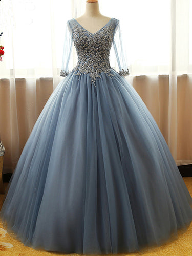 Half Sleeve Prom Dresses Floor-length Long Dusty Blue Ball Gown Prom Dress JKL1403|Annapromdress