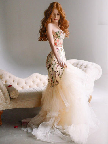Mermaid Prom Dresses Sweetheart Sweep Train Sexy Chic Floral Lace Prom Dress JKL1404|Annapromdress