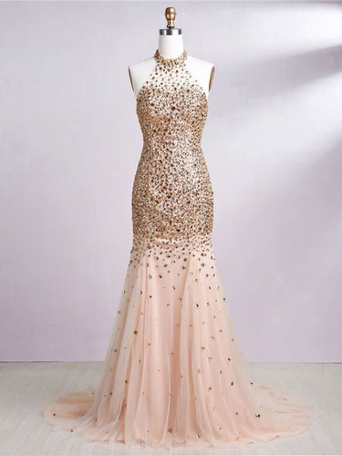 Open Back Prom Dresses Halter Rhinestone Gold Prom Dress Sexy Evening Dress JKL1409|Annapromdress