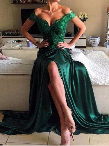 Dark Green Prom Dresses Off-the-shoulder Slit Sexy Prom Dress/Evening Dress JKL140