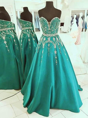 Sparkly Prom Dresses Sweetheart A-line Hunter Green Long Rhinestone Prom Dress JKL1410|Annapromdress