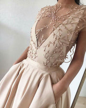 Beautiful Prom Dresses with Pockets Aline Sweep Train Sexy Chic Embroidery Prom Dress JKL1411|Annapromdress