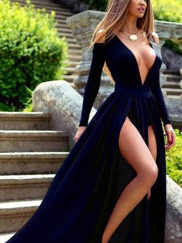 Long Sleeve Prom Dresses with Slit Deep V A Line Simple Prom Dress Long Evening Dress JKL1412|Annapromdress