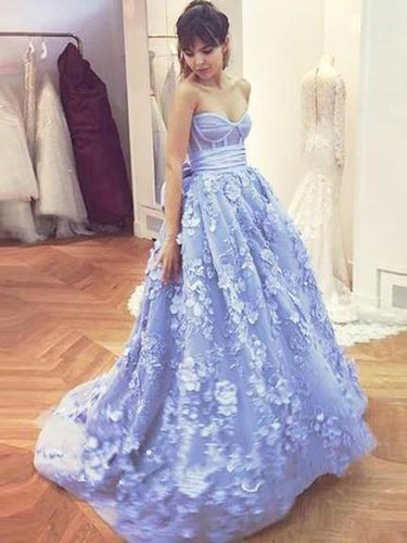Chic Prom Dresses Aline Sweetheart Floral Lace Sweep Train Lavender Long Prom Dress JKL1413|Annapromdress
