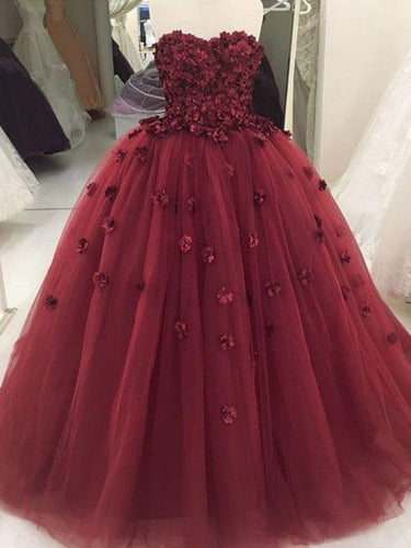 Ball Gown Prom Dresses Sweetheart Burgundy Long Prom Dress Sexy Evening Dress JKL1416|Annapromdress