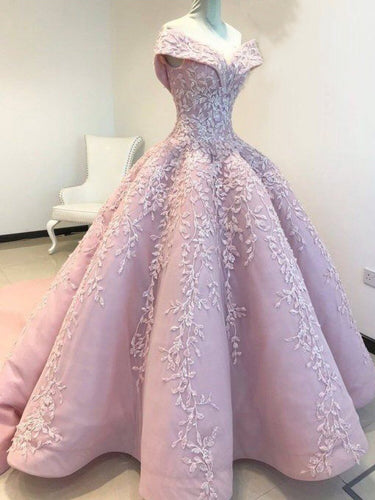 Sparkly Prom Dresses Off-the-shoulder Long Embroidery Pink Luxury Prom Dress JKL1417|Annapromdress