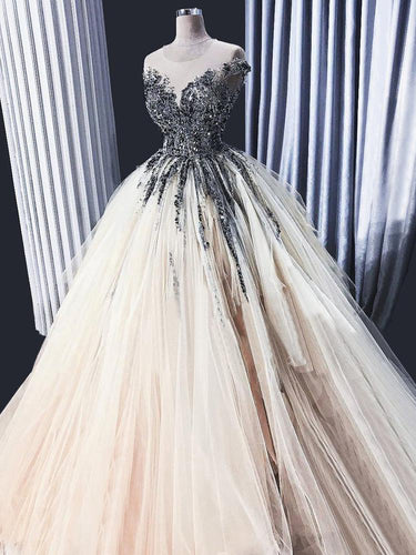 Ball Gown Prom Dresses Beading Rhinestone Long Sparkly Luxury Prom Dress JKL1422|Annapromdress