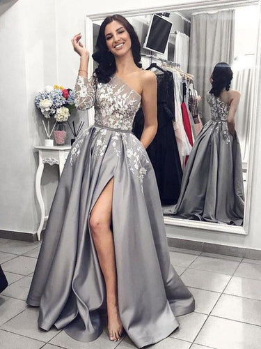 Long Sleeve Prom Dresses with Pockets Aline Slit One Shoulder Long Prom Dress JKL1427|Annapromdress