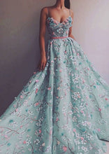 Lace Prom Dresses Spaghetti Straps A-line Long Sparkly Luxury Prom Dress JKL1429|Annapromdress