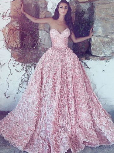 Pink Lace Prom Dresses Sweetheart Long Luxury Prom Dress Sexy Evening Dress JKL1430|Annapromdress