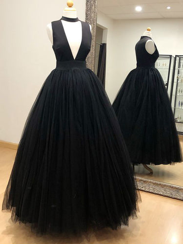 Beautiful Prom Dresses A Line High Neck Sexy Simple Cheap Black Prom Dress JKL1432|Annapromdress
