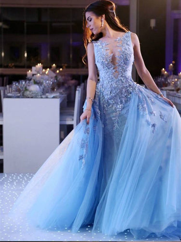 Beautiful Prom Dresses Aline Appliques Blue Long Lace Chic Prom Dress JKL1434|Annapromdress