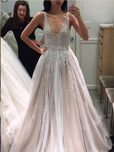 Backless Prom Dresses with Straps Aline Long Beading Open Back Deep V Sparkly Prom Dress JKL1442|Annapromdress