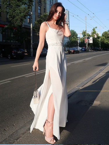 Simple Prom Dresses Spaghetti Straps Aline Fashion Prom Dress Slit Evening Dress JKL1444|Annapromdress