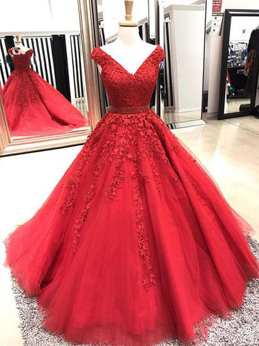 Red Prom Dresses V-neck Aline Long Appliques Sweep Train Sparkly Prom Dress JKL1447|Annapromdress