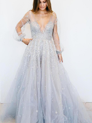 Long Sleeve Prom Dresses A Line Deep V Open Back Sexy Spparkly Prom Dress JKL1448|Annapromdress