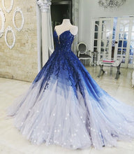 Ball Gown Prom Dresses Scoop Appliques Long Chic Luxury Ombre Big Prom Dress JKL1450|Annapromdress
