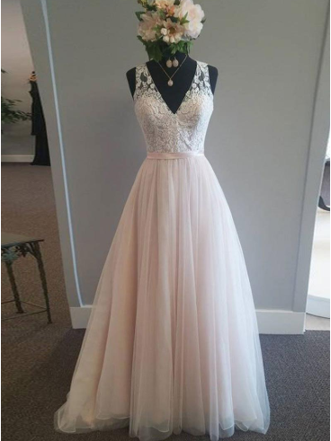 Charming Prom Dresses V-neck Blush Pink Button Back Long Prom Dress Sexy Evening Dress JKL1451|Annapromdress