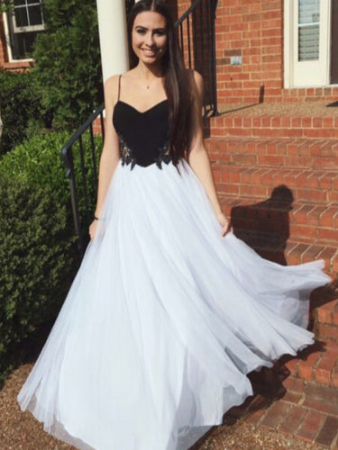 Cute Prom Dresses A Line Spaghetti Straps Sexy Long Black and White Prom Dress JKL1453|Annapromdress