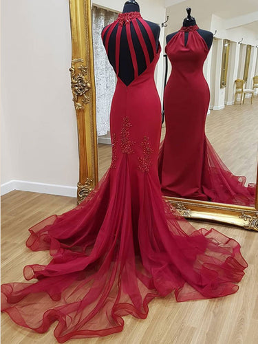 Red Prom Dresses High Neck Sheath Fashion Long Open Back Prom Dress Sparkly Evening Dress JKL1459|Annapromdress