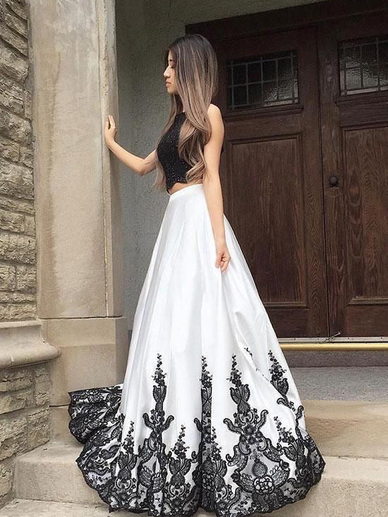 Two Piece Prom Dresses Aline Key Hole Back Long Black And White Chic