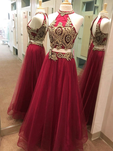 Two Piece Prom Dresses A Line High Neck Sexy Gold Applique Long Burgundy Prom Dress JKL1463|Annapromdress